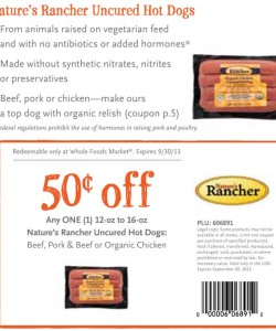 Whole Foods Nature's Rancher Uncured Hot Dogs Coupon
