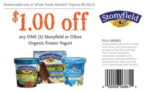Whole Foods Market Coupons 2013 Stonyfield Oikos Organic Frozen Yogurt
