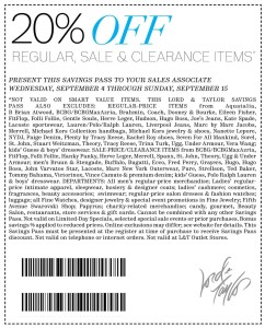 20 percent off Lord and Taylor coupons