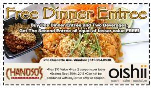 Free dinner coupon Oishii and Chanoso's