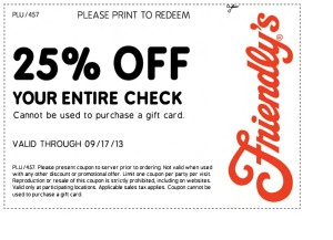 Friendly's Coupon 25 percent off