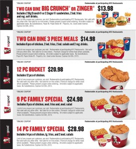 List of KfC Coupons