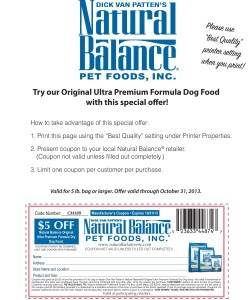Natural Balance Pet Food Discount Coupon