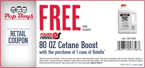 Pep Boys free cetane boost coupon