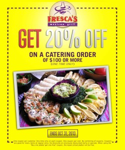 20 Percent off Frescas Mexican Grill Catering Coupon