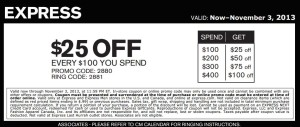 25 off Express for Women and Men Coupon