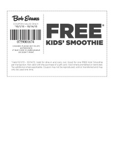 Bob Evans Coupon Free Smoothie