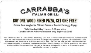 Carrabbas Italian Grill Coupon North Palm Beach Lunch Offer