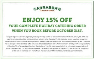 Carrabbas Italian Grill Coupon for Holiday Catering
