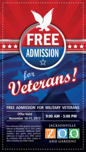 Free Admission to Jacksonville Zoo Coupon for Military Veterans