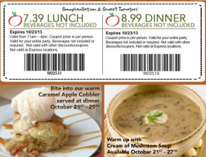 Lunch Dinner Souplantation Sweet Tomatoes Coupon