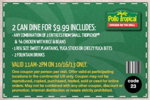 Pollo Tropical Coupon 2 for 10 Tropichop