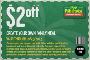 Pollo Tropical Coupon Family Meal