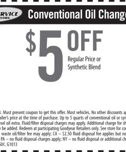 Conventional Oil Change Coupon Tire Service Network