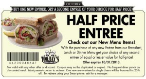 Toojays Coupon Half off New Entree