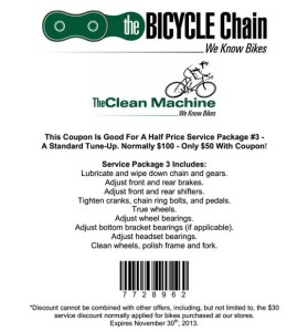 50 off The Bicycle Chain Store Coupon