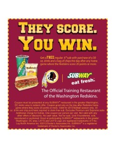 Free Subway Sub Coupon Washington Redskins Score