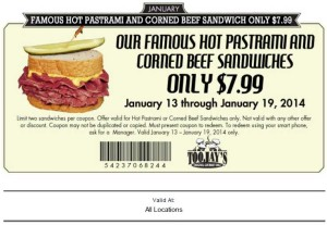 Toojays Coupon for Pastrami and Corned Beef Sandwich 2014