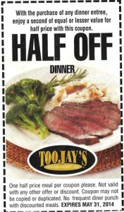 Half off Dinner at Toojays Coupon 2014