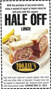 Half off Lunch Toojays Coupon 2014