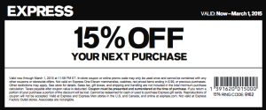Express Clothing Coupon 15 percent off 2015